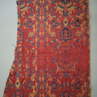 Lampas, silks and gilt paper wrapped thread